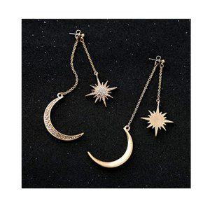 Moon Long Drop Dangle Stud Earrings